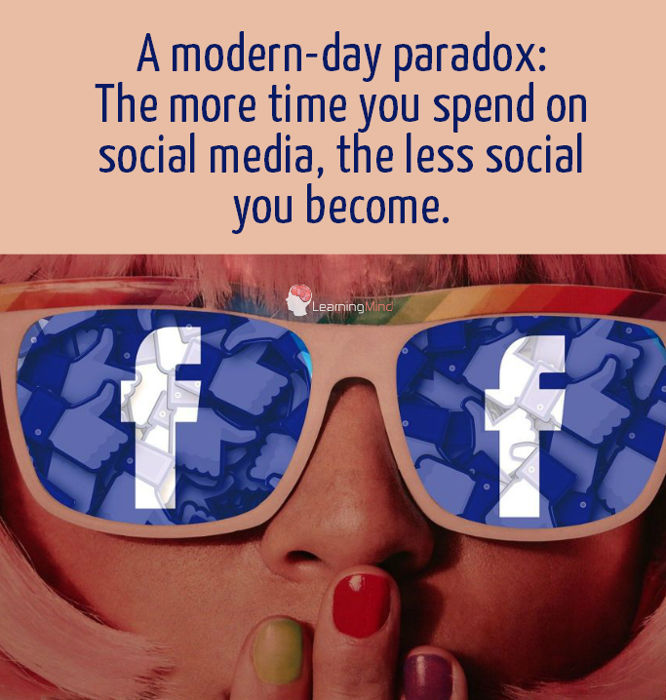 The more time you spend on social media, the less social you become.