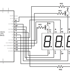 4 digit 7 segment led display circuit with an arduino [ 1074 x 760 Pixel ]
