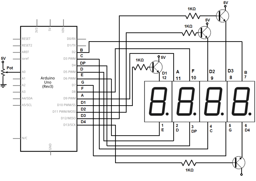 medium resolution of 4 digit 7 segment led display circuit with an arduino