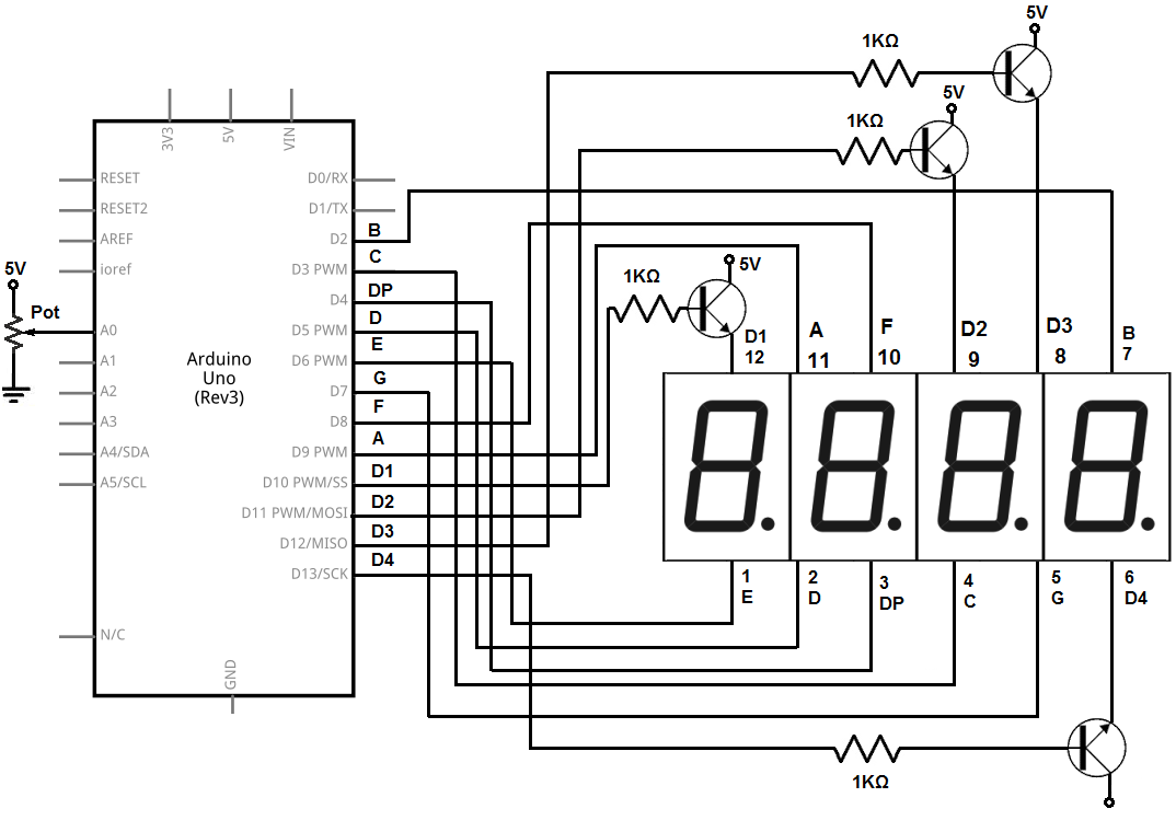 hight resolution of 4 digit 7 segment led display circuit with an arduino