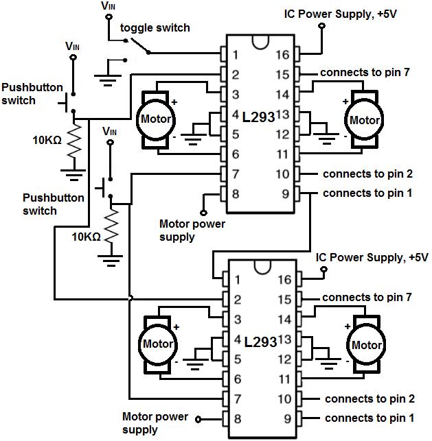 How to Build an H-bridge Circuit to Control 4 Motors