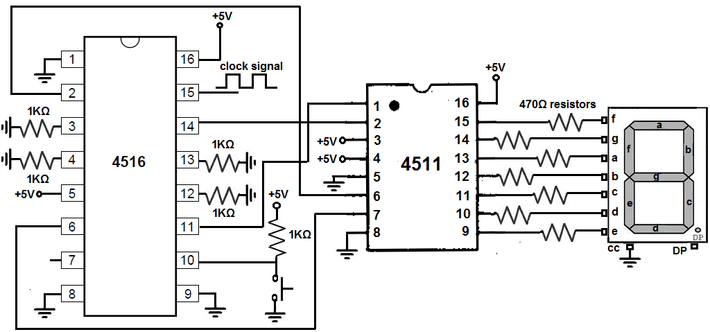 4516 up down binary counter circuit