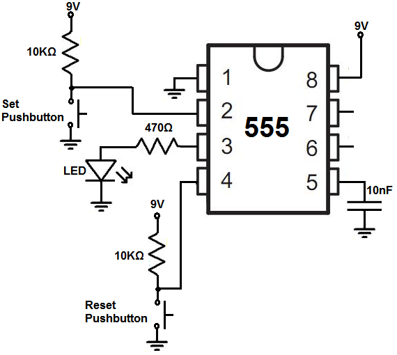 bistable 555 timer circuit