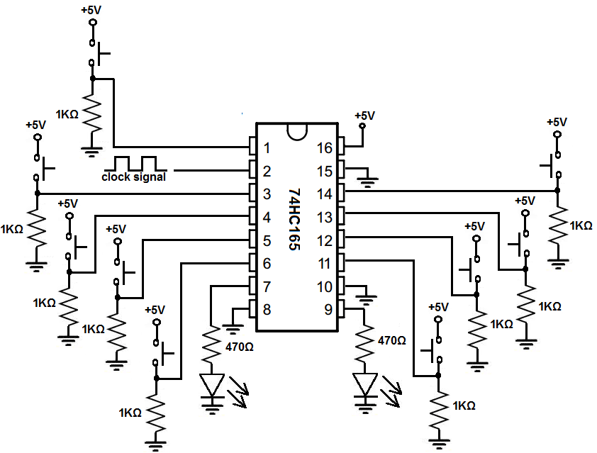 How to Build a Register Circuit with a 74HC165 Chip