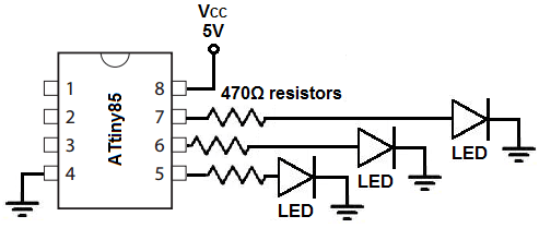 How to Build an LED Circuit with an ATtiny85
