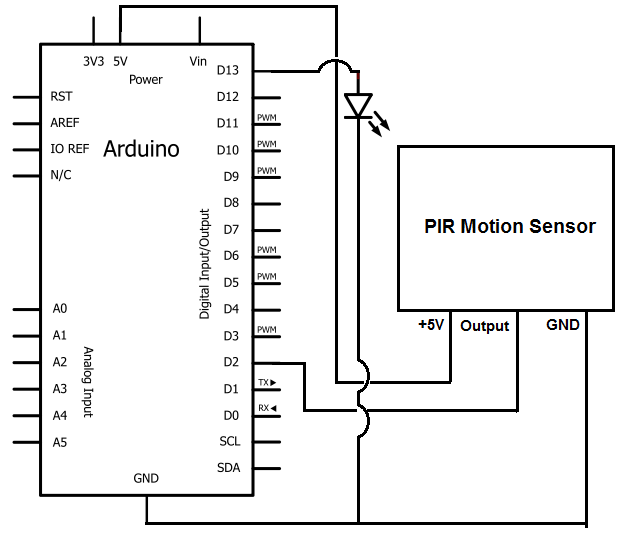 Arduino Motion Sensor Circuit Schematic additionally Ecf Ca F C B F Ee additionally Aef E D Defff D besides Automatic Room Lights Using Arduino And Pir Sensor Circuit Diagram also Simple Pir Sensor Circuit. on arduino pir motion sensor circuit diagram
