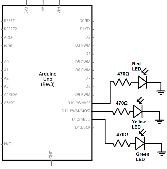 arduino traffic light circuit diagram