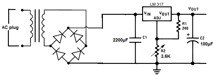 power supply circuit using bridge rectifier