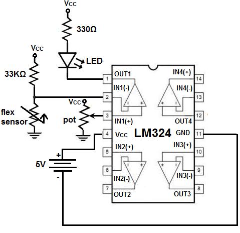 How to Build a Flex Sensor Circuit with a Voltage Comparator