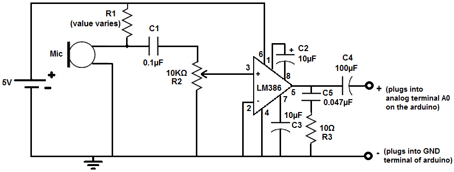 circuit diagram of amplifier using lm386