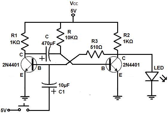 mono stable multivibrator circuit