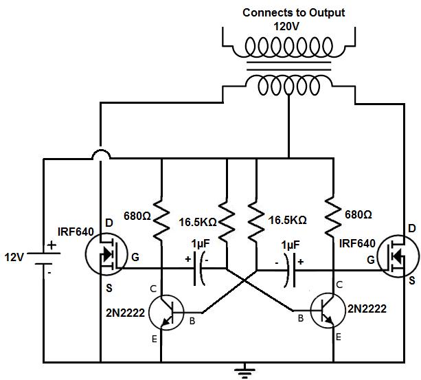 circuit schematic diagram of simple dc to ac inverter