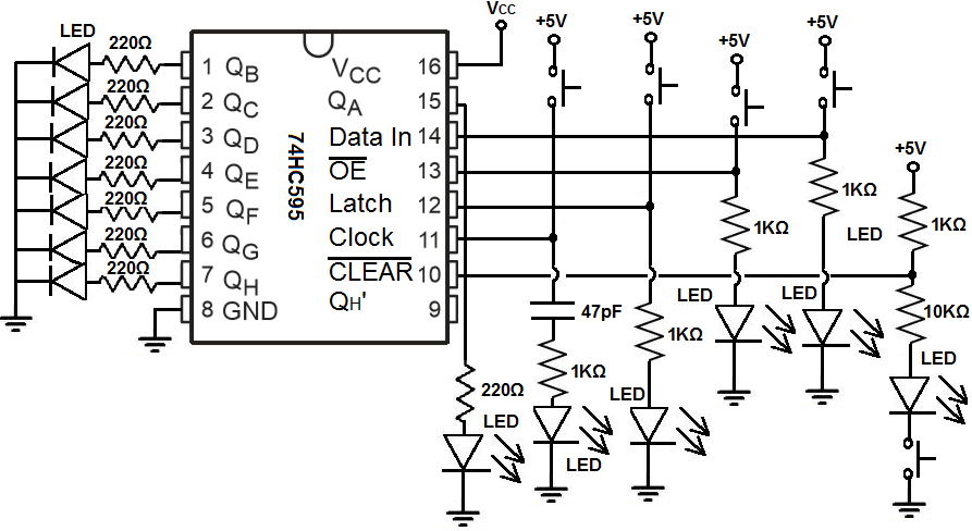 shift registers 74ls164 electronic circuit