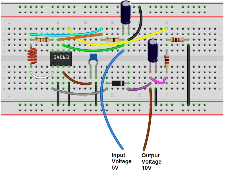 convert circuit diagram to breadboard pico relay wiring how build a switch mode power supply with an mc34063 chip