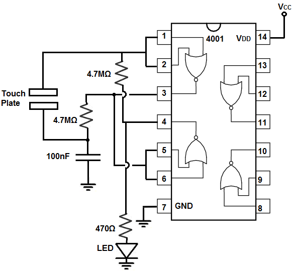 How to Build a Touch On-Off Circuit with a 4001 NOR Gate Chip