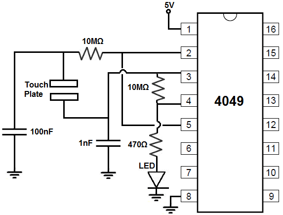 How to Build a Touch On-Off Circuit with a 4049 Inverter Chip