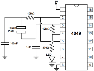 How to Build a Touch OnOff Circuit with a 4049 Inverter Chip