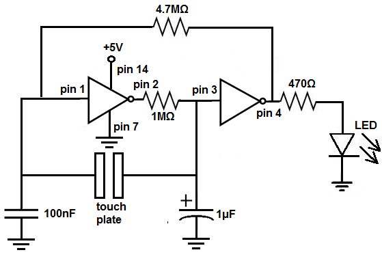 How to Build a Touch On-Off Circuit with a 7414 Inverter Chip