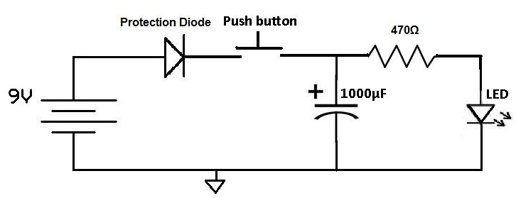 simple ? led circuit to confirm when a capacitor is