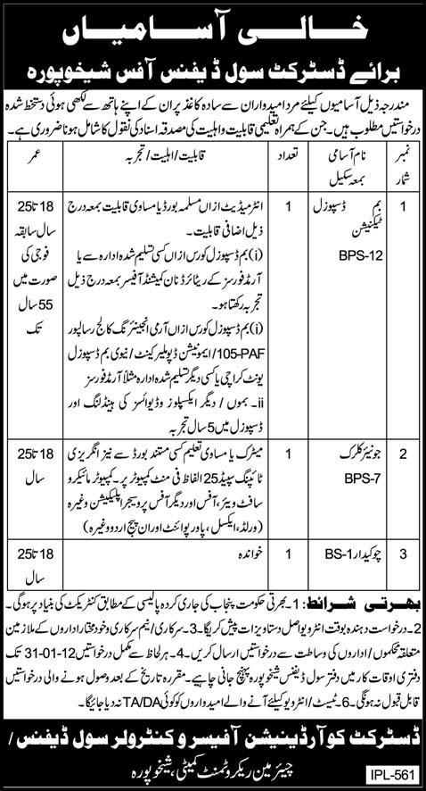 Jobs in District civil defence sheikhupura 15-January-2012