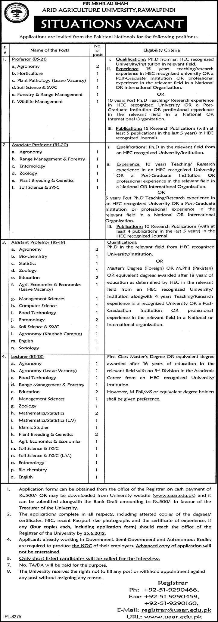 Jobs In Arid Agriculture University Rawalpindi 2012