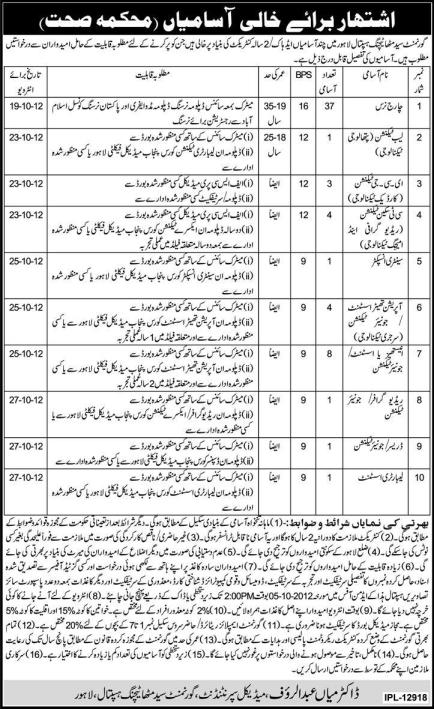 Government Health Department Punjab Jobs September 2012