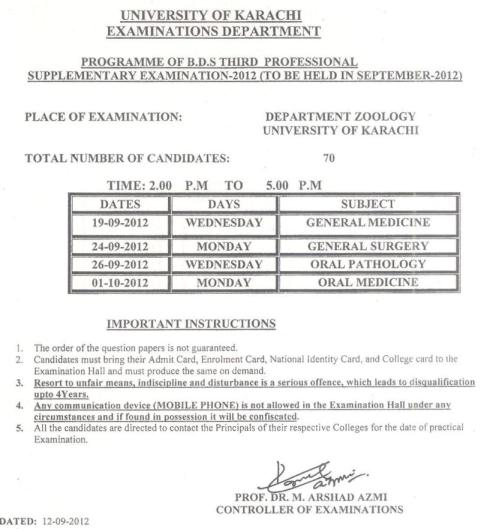 University of Karachi B.D.S Supplementary Exam 2012