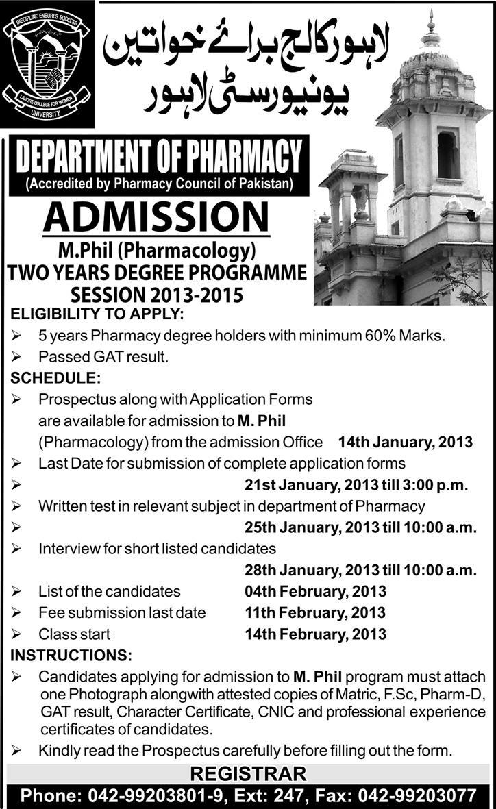 Government College for Women University M.Phil Admissions