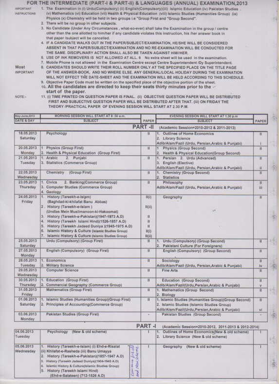 Bise Sargodha Board 1st 2nd Year Date Sheet 2013