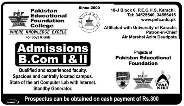 B.com Admissions in Pakistan Educational Foundation