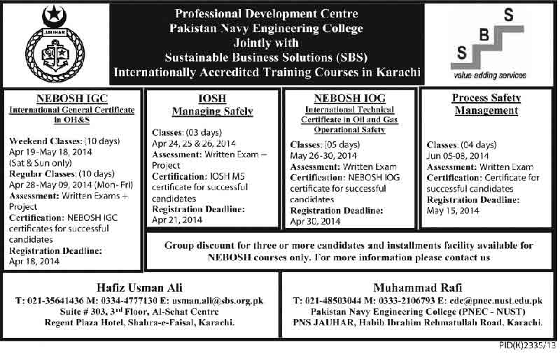 Training Courses in karachi Pakistan Navy Engineering College