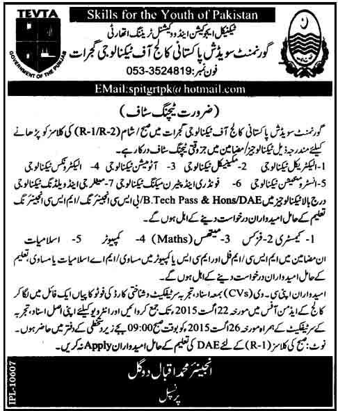 Govt Swedish Pakistani College of Technology Gujrat Jobs