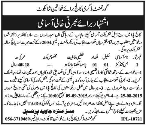 Govt Degree College for Women Shahkot Nankana Sahib Jobs 2015
