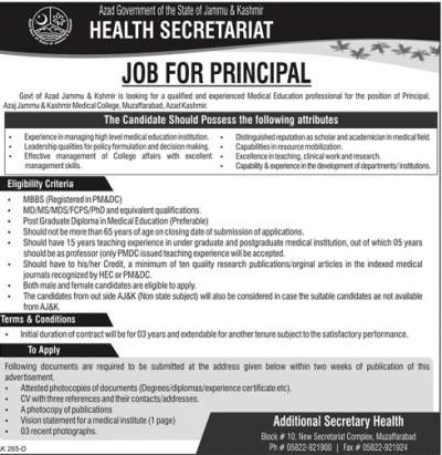 Principal Jobs in Medical College