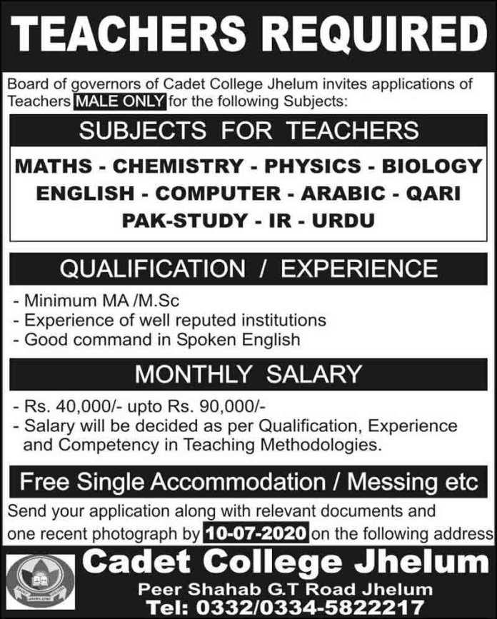 Cadet-College-Jhelum-Jobs-2020