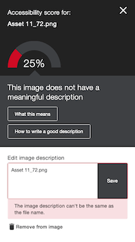 Low accessibility score with a incorrect image description