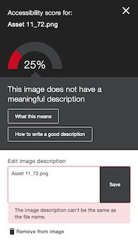 Low accessibility score with a incorrect image description