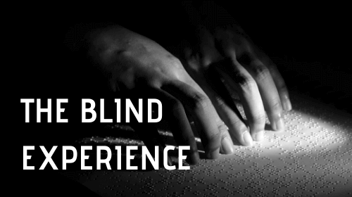 Title of the blog: The Blind Experience. With an image of someone reading brail
