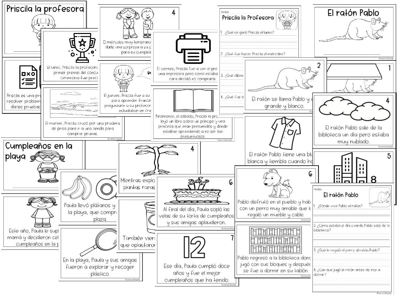 Reading Comprehension Booklets In Spanish Las Silabas