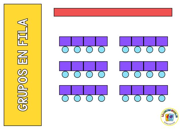 organización de aula en filas