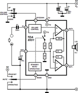 1W BTL Audio Amplifier Circuit Diagram