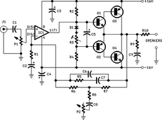 10W Audio Amplifier With Bass-Boost Circuit Diagram