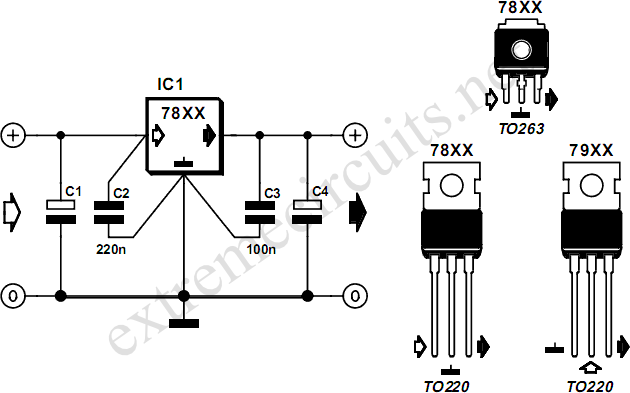 78xx Voltage Regulators Circuit Diagram