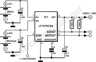 Battery Switch With Low-Dropout Regulator Circuit Diagram