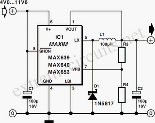Compact Switching Step-Down Converter By MAX639 Circuit