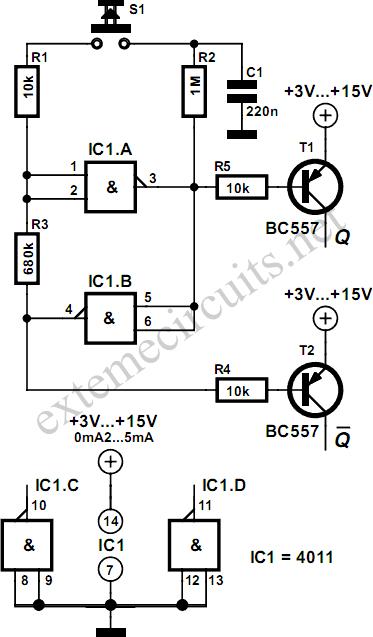 Flip-Flop Using CMOS NAND Gates Circuit Diagram