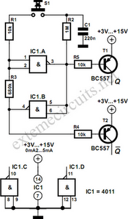 Flip-Flop Using CMOS NAND Gates Circuit Diagram