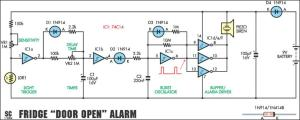 FridgeDoor Open Alarm Circuit Project Circuit Diagram