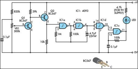 Low Cost Battery Condition Indicator Circuit Diagram