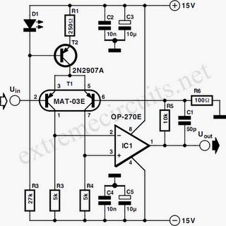 Low-Noise Microphone Amplifier (OP270E) Circuit Diagram